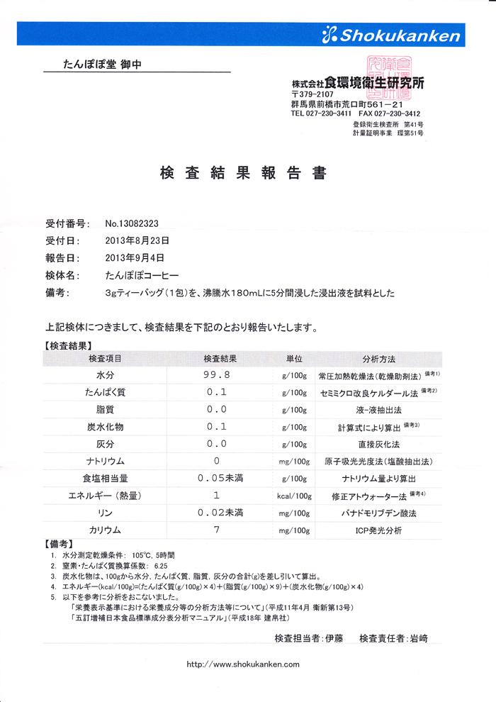 たんぽぽコーヒー(茶)の栄養成分分析結果